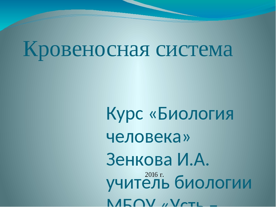 Кровеносная система Курс «Биология человека» Зенкова И.А. учитель биологии МБ...