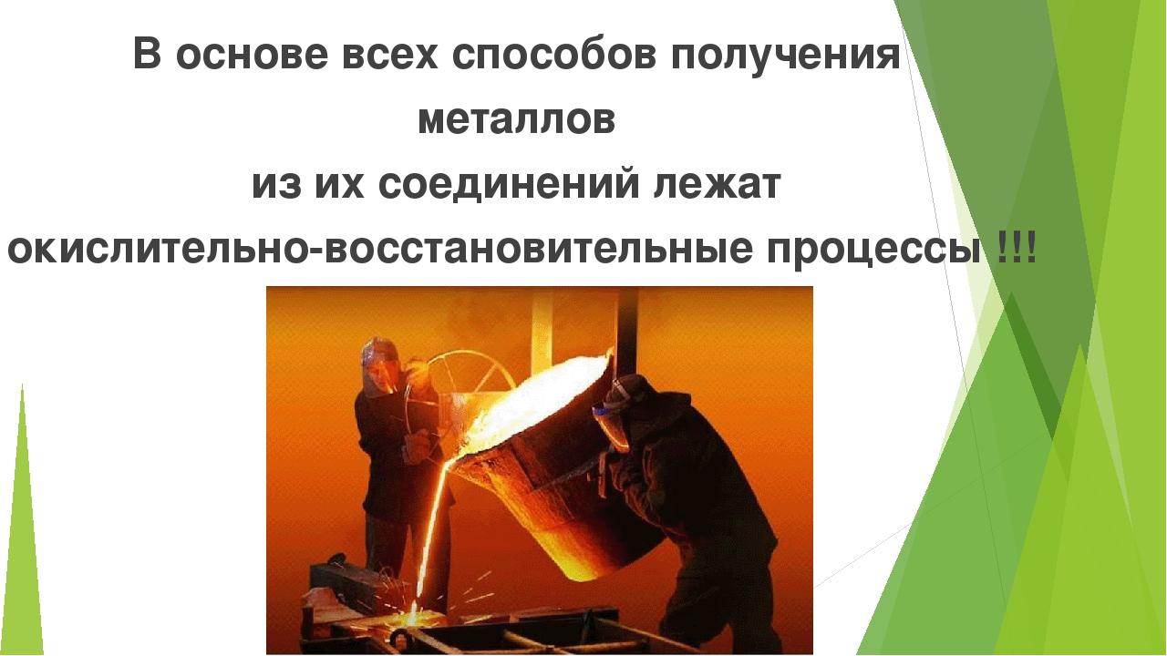В основе всех способов получения металлов из их соединений лежат окислительно...