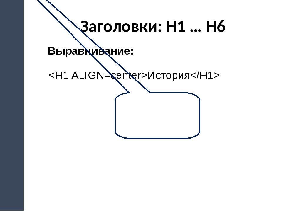 Заголовки: H1 … H6 Выравнивание: История left, center, right