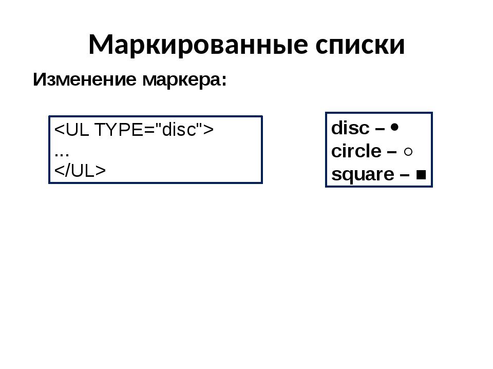 Маркированные списки Изменение маркера: disc –  circle – ○ square – ■  ...
