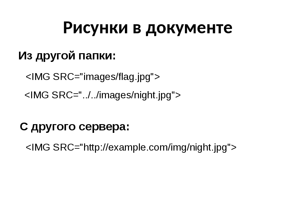 Рисунки в документе Из другой папки: С другого сервера: