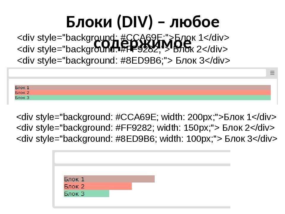Блоки (DIV) – любое содержимое Блок 1  Блок 2  Блок 3 Блок 1  Блок 2  Блок 3