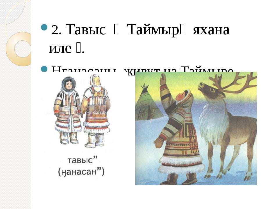 2. Тавыс ״ Таймыр׳ яхана иле״. Нганасаны живут на Таймыре.