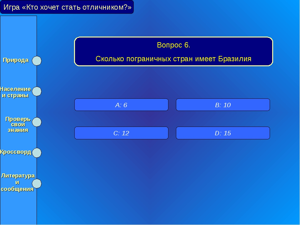 Игра «Кто хочет стать отличником?» Вопрос 6. Сколько пограничных стран имеет...