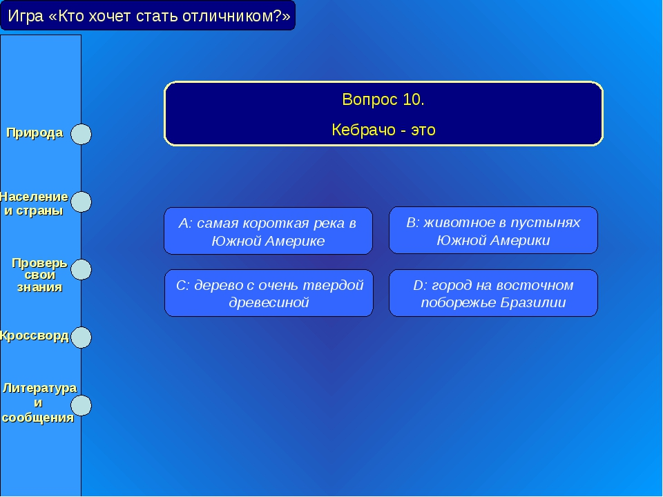Игра «Кто хочет стать отличником?» Вопрос 10. Кебрачо - это A: самая короткая...
