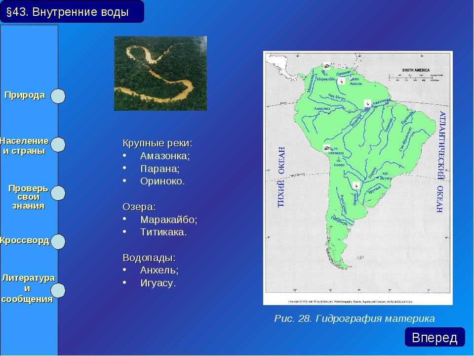 Крупные реки: Амазонка; Парана; Ориноко. Озера: Маракайбо; Титикака. Водопа...