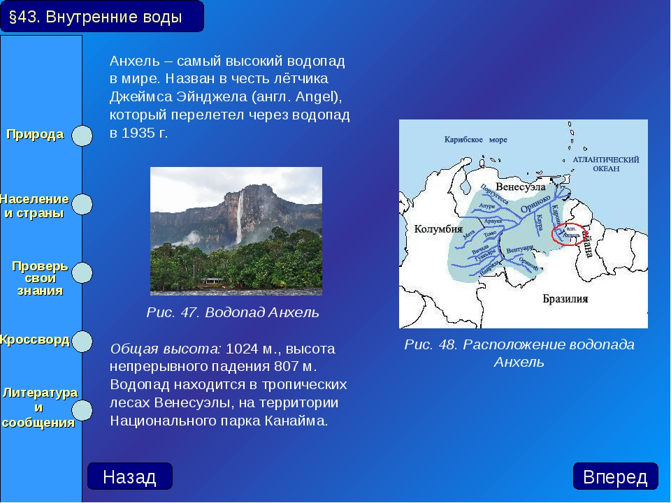 Анхель – самый высокий водопад в мире. Назван в честь лётчика Джеймса Эйнджел...