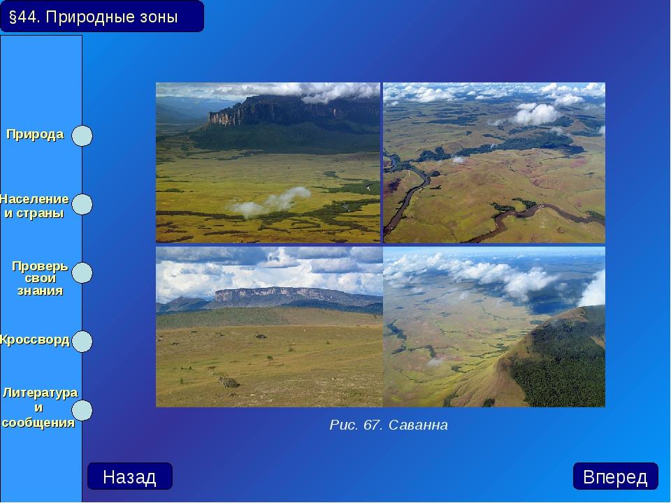 §44. Природные зоны Назад Вперед Рис. 67. Саванна Природа Население и страны...