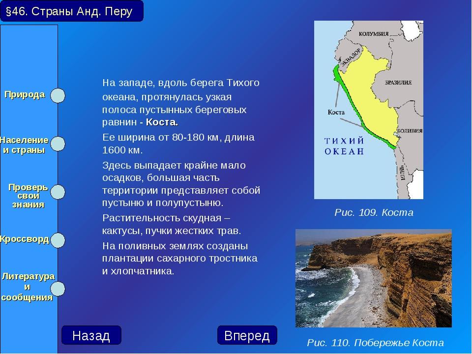 На западе, вдоль берега Тихого океана, протянулась узкая полоса пустынных бе...