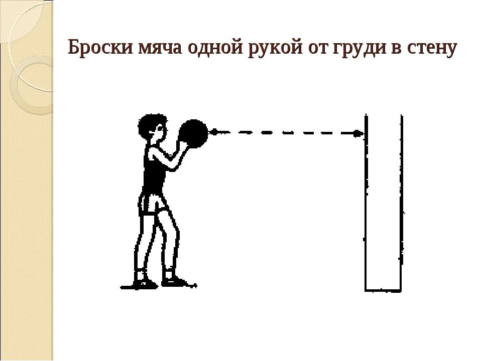 Броски мяча одной рукой от груди в стену
