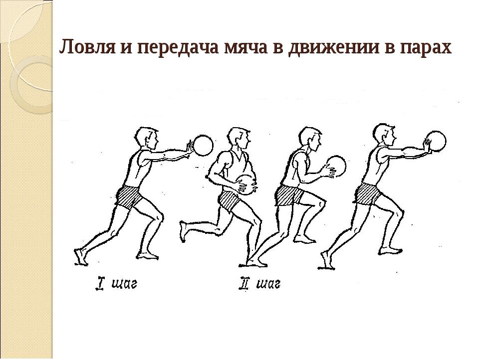 Ловля и передача мяча в движении в парах