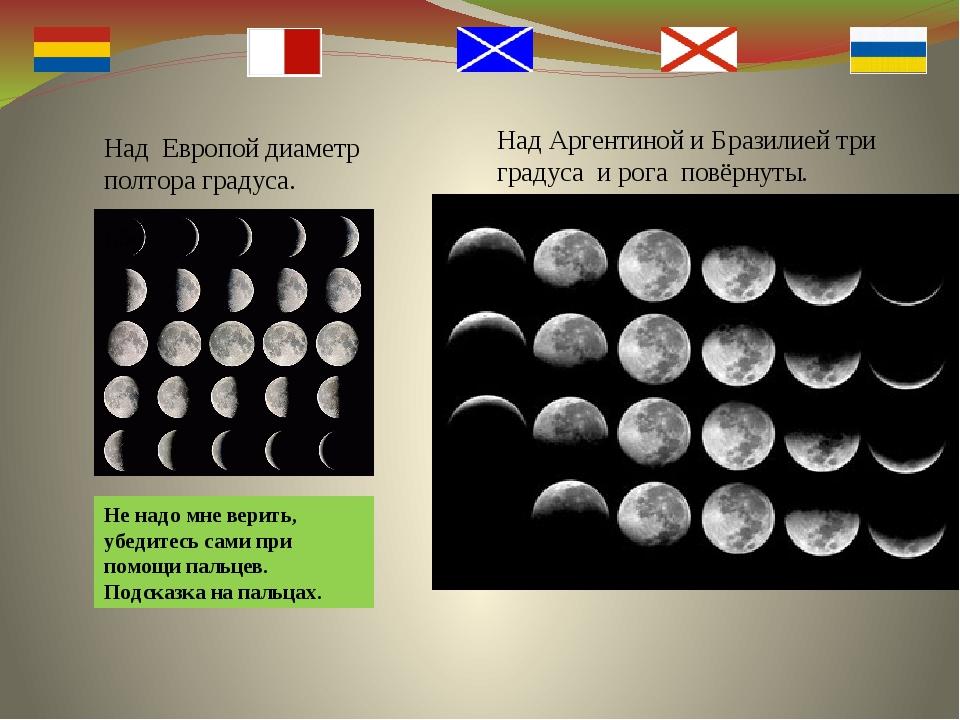 Над Аргентиной и Бразилией три градуса и рога повёрнуты. Над Европой диаметр...