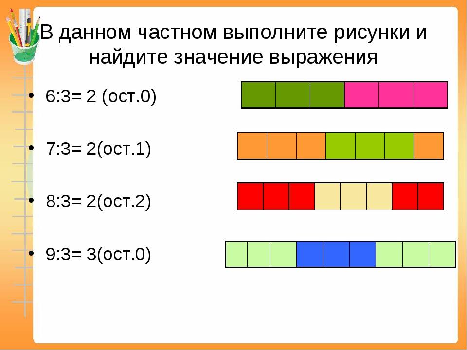 В данном частном выполните рисунки и найдите значение выражения 6:3= 2 (ост.0...