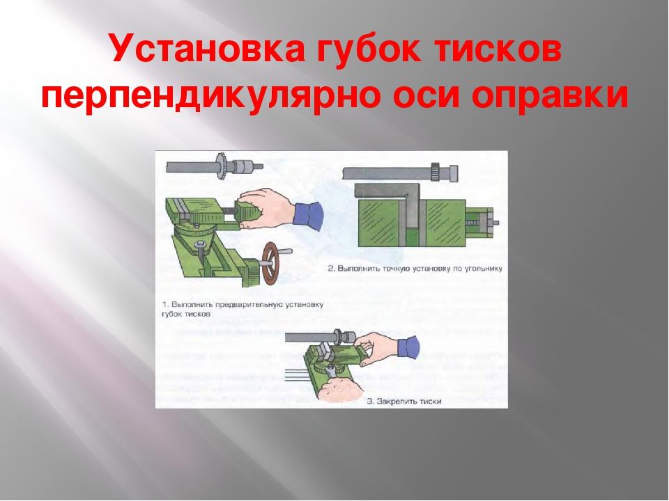 Установка губок тисков перпендикулярно оси оправки