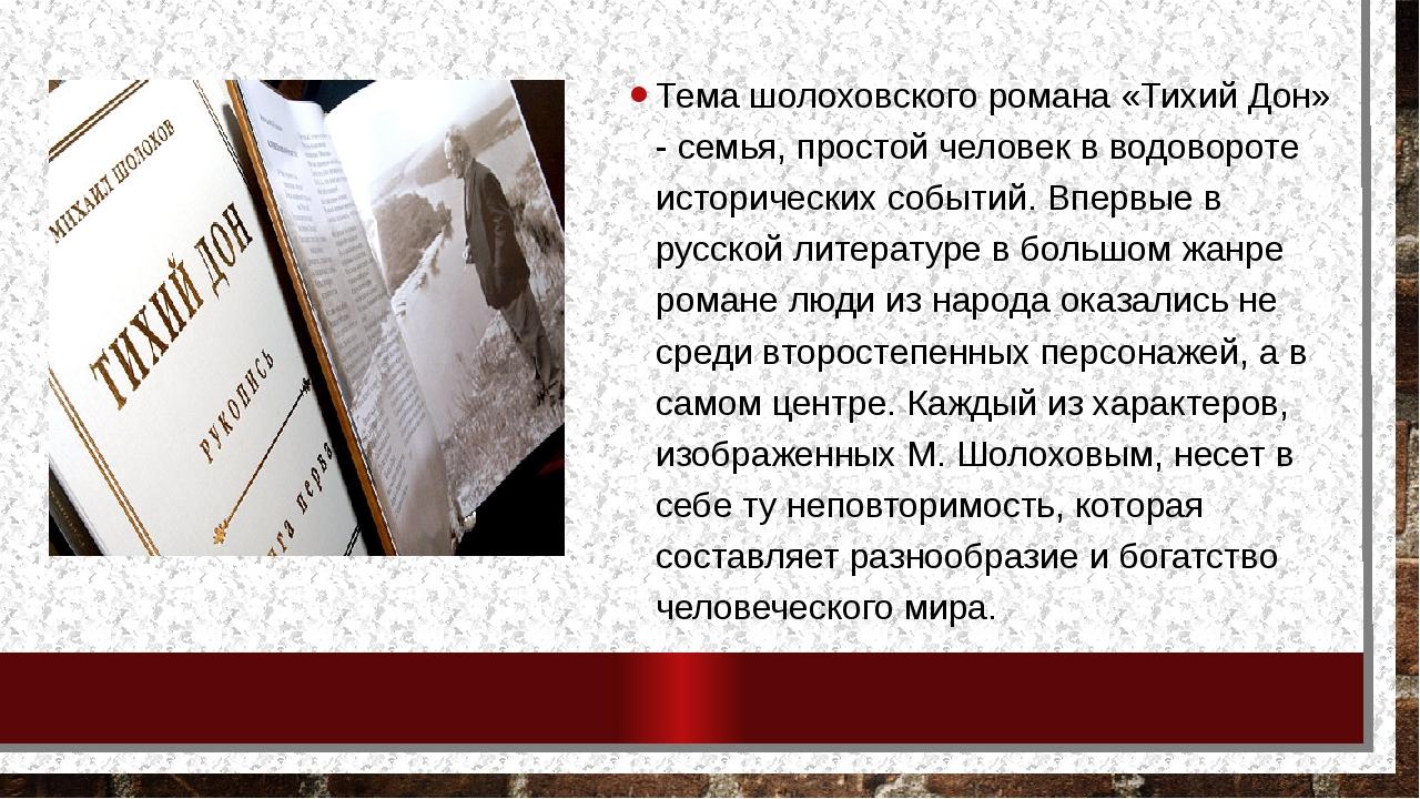 Тема шолоховского романа «Тихий Дон» - семья, простой человек в водовороте ис...