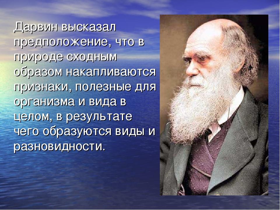 Дарвин высказал предположение, что в природе сходным образом накапливаются п...