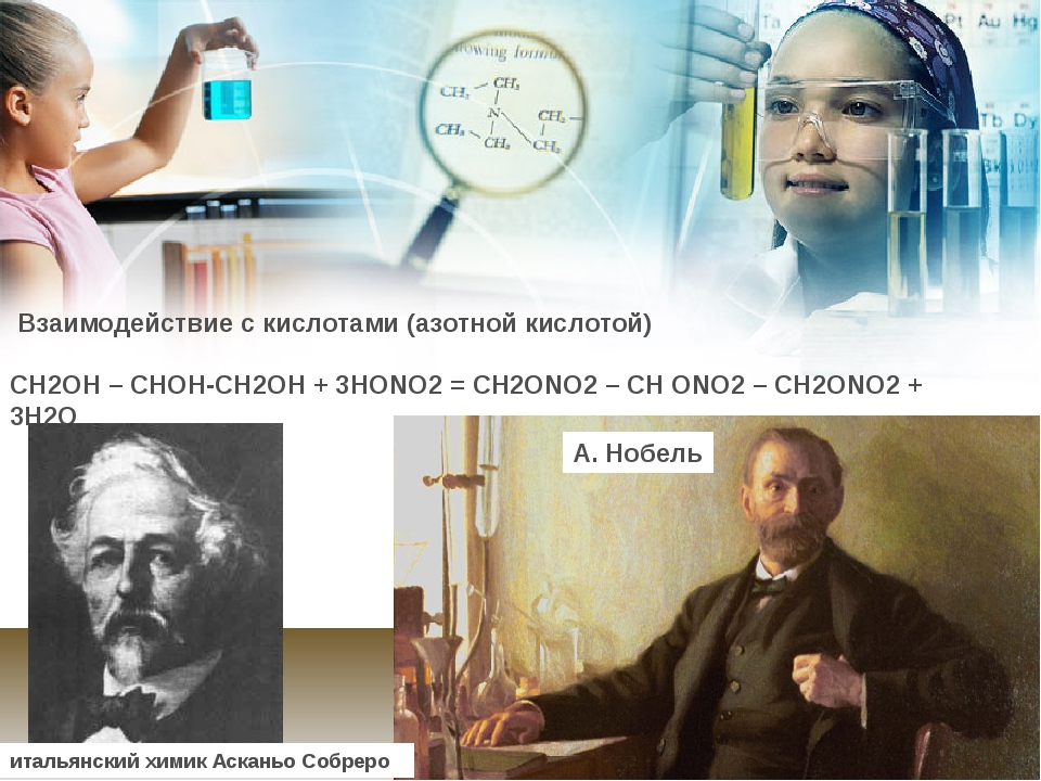 Взаимодействие с кислотами (азотной кислотой) СН2ОН – СНОН-СН2ОН + 3НОNO2=...