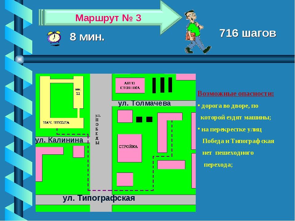 8 мин. 716 шагов Возможные опасности: дорога во дворе, по которой ездят машин...