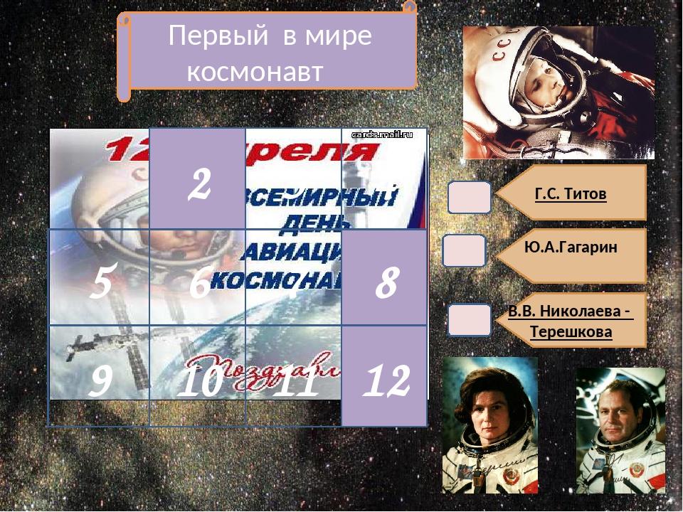 Г.С. Титов Ю.А.Гагарин В.В. Николаева - Терешкова Первый в мире космонавт 8...