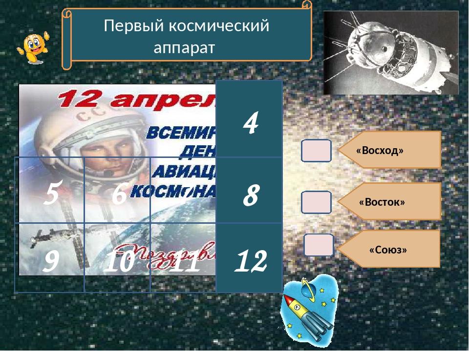 «Восход» «Восток» «Союз» 4 Первый космический аппарат 8 12 9 10 6 5 7 11