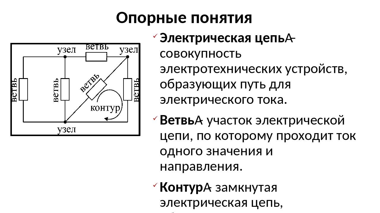 Опорные понятия Электрическая цепь– совокупность электротехнических устройст...