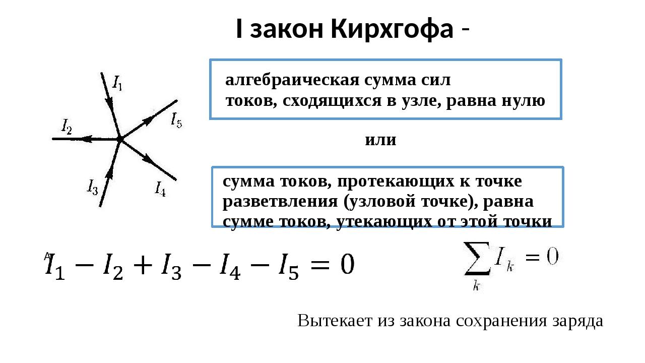 I закон Кирхгофа - алгебраическая сумма сил токов,сходящихся в узле, равна н...