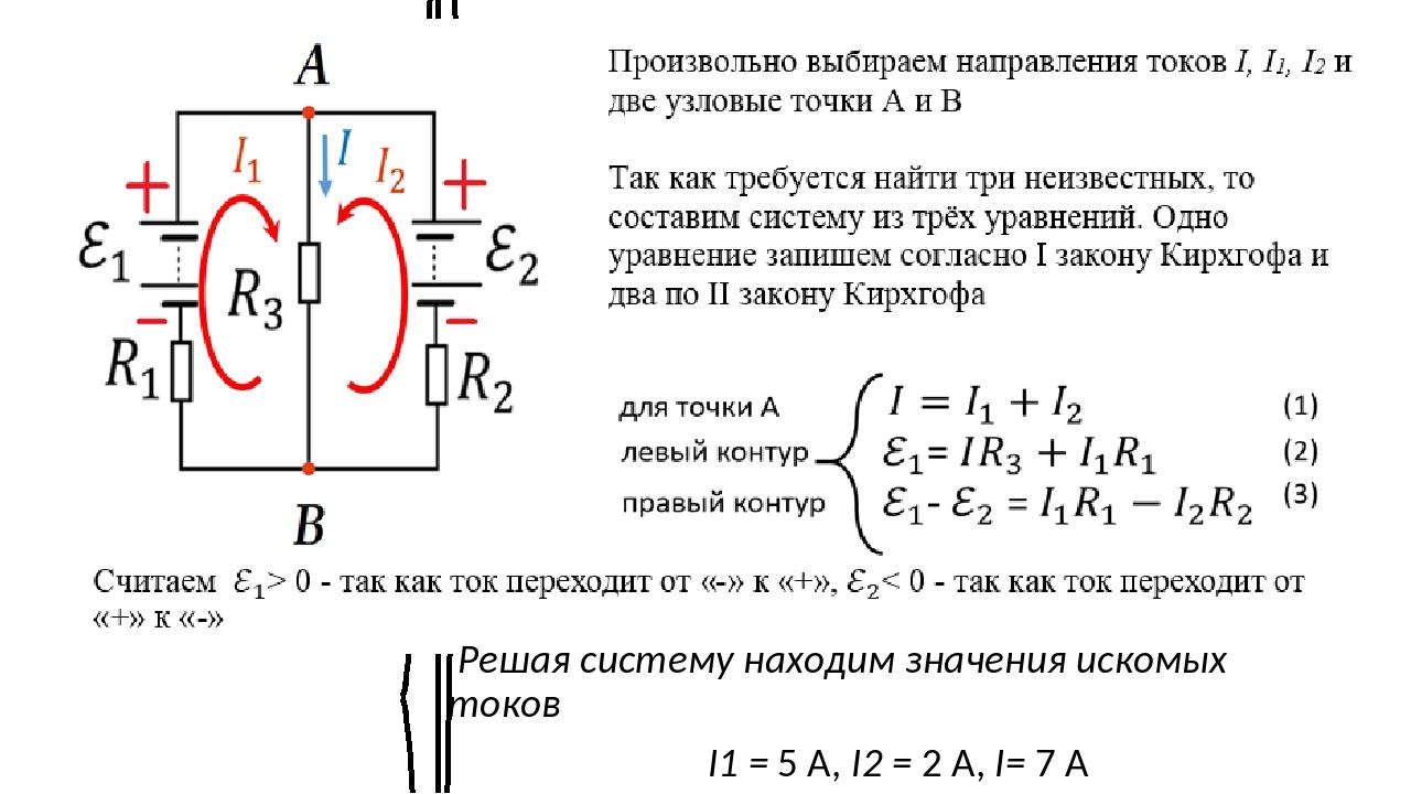 для точки А левый контур правый контур (1) (2) (3) Решая систему находим знач...