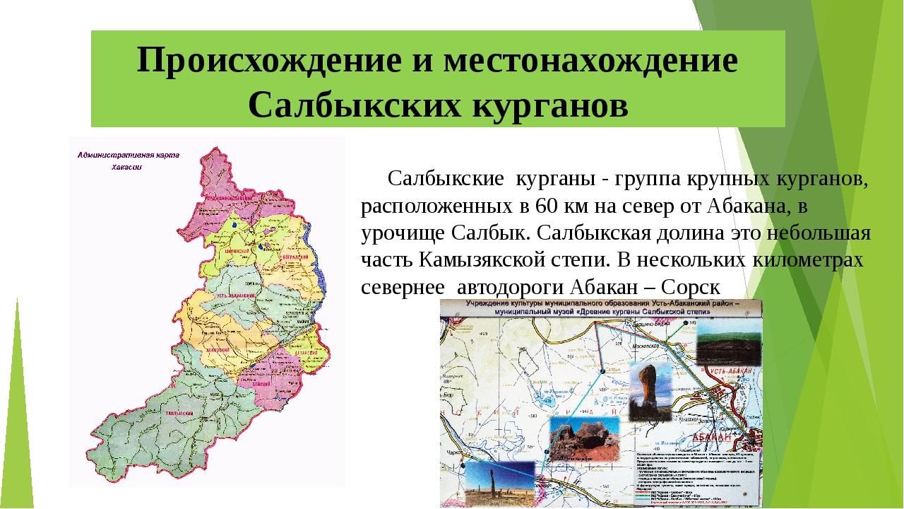 Салбыкские курганы - группа крупных курганов, расположенных в 60 км на север...