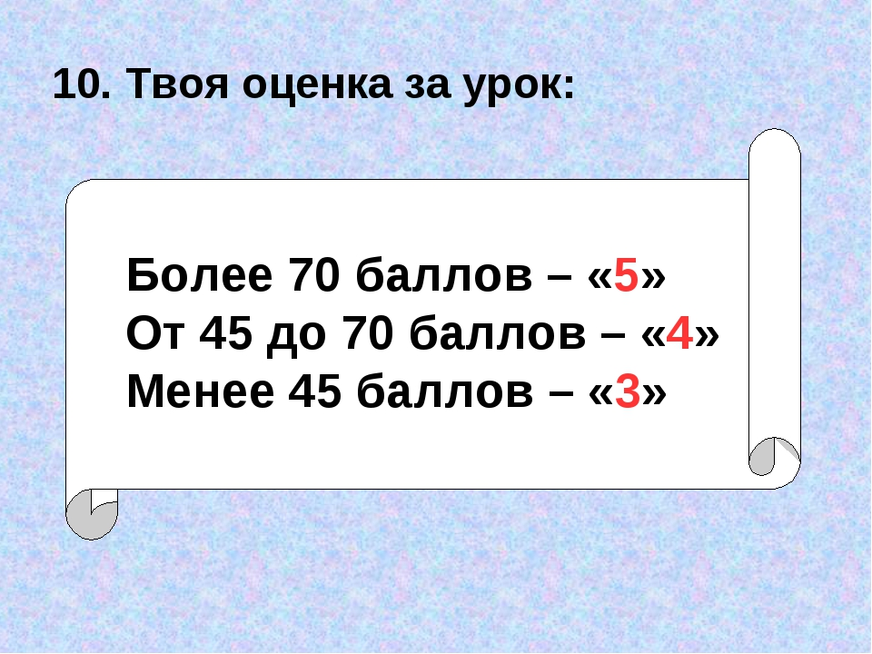 10. Твоя оценка за урок: Более 70 баллов – «5» От 45 до 70 баллов – «4» Менее...