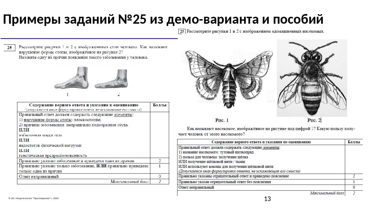 """© АО «Издательство """"Просвещение""""», 2020 Примеры заданий №25 из демо-варианта..."""