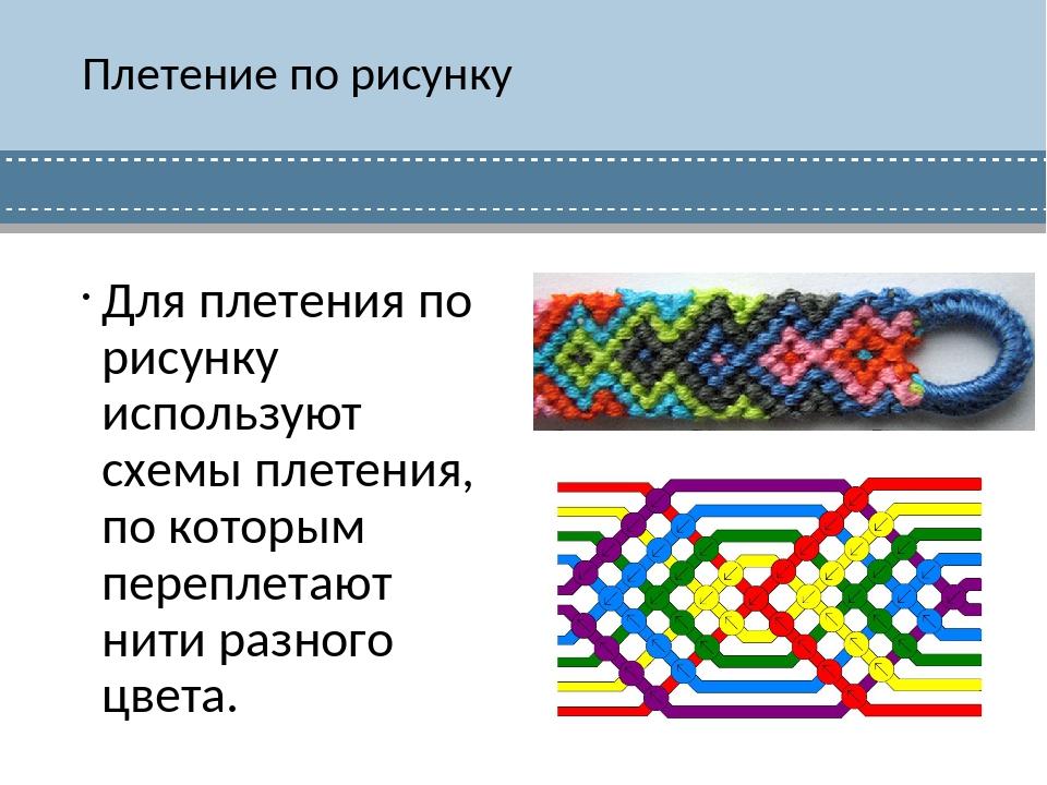 Плетение по рисунку Для плетения по рисунку используют схемы плетения, по кот...