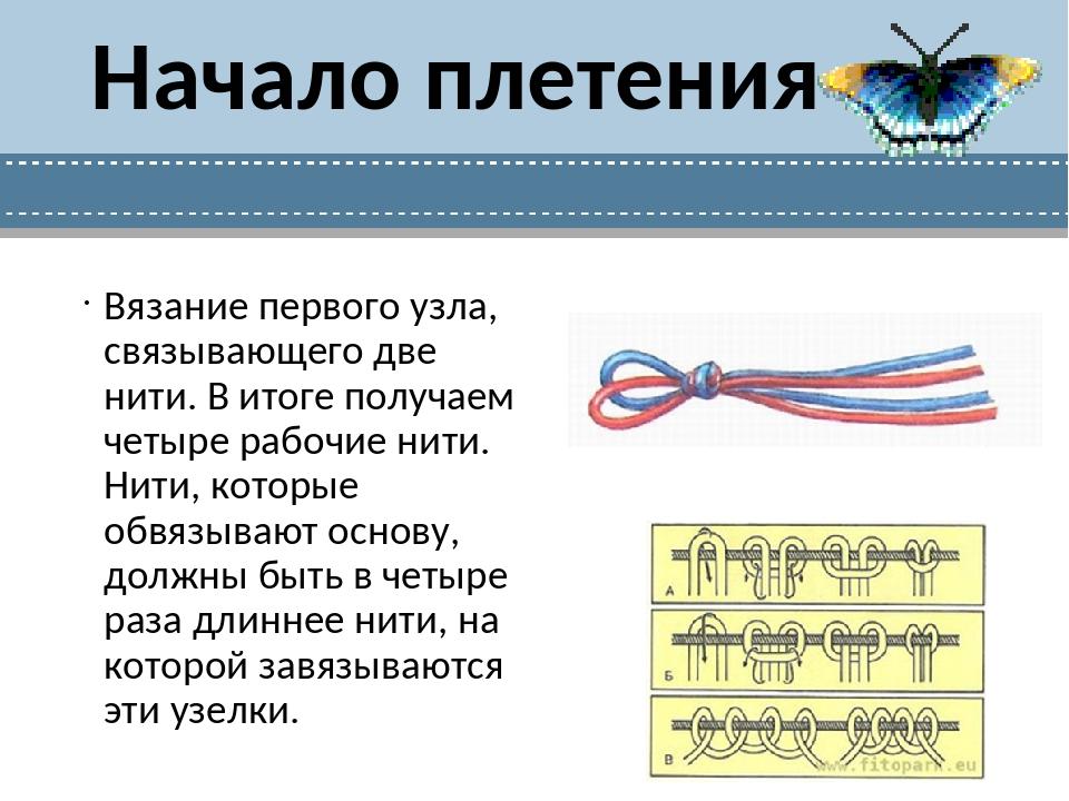Начало плетения Вязание первого узла, связывающего две нити. В итоге получаем...