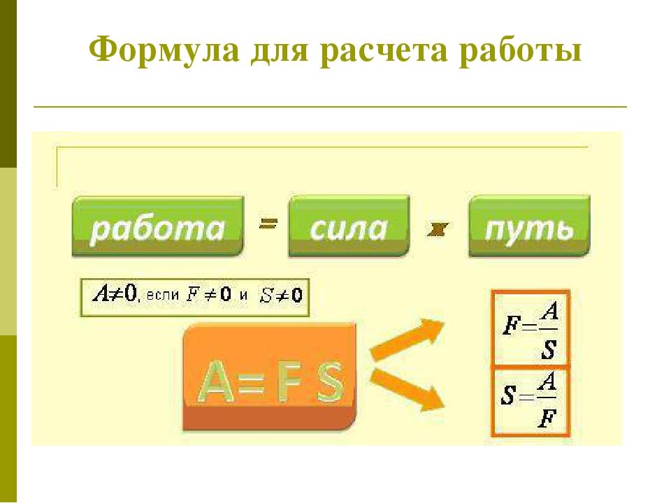 Формула для расчета работы