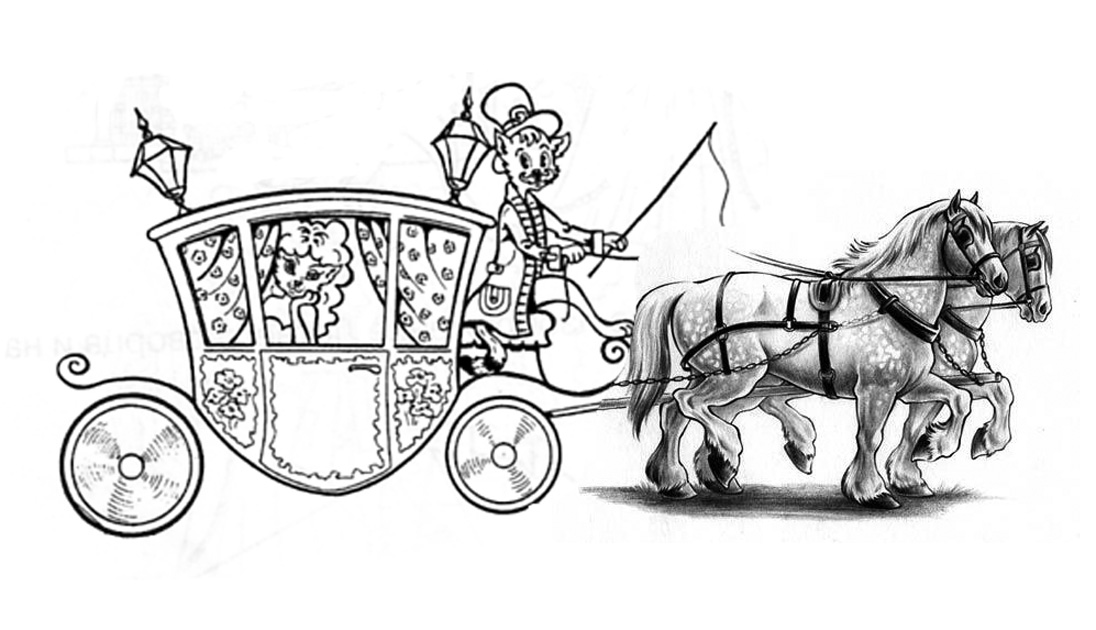 Рисунок кареты с лошадьми карандашом