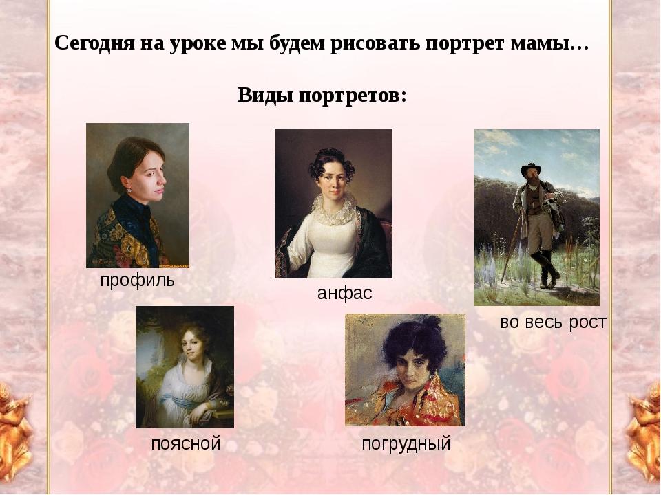 Сегодня на уроке мы будем рисовать портрет мамы… Виды портретов: профиль анфа...