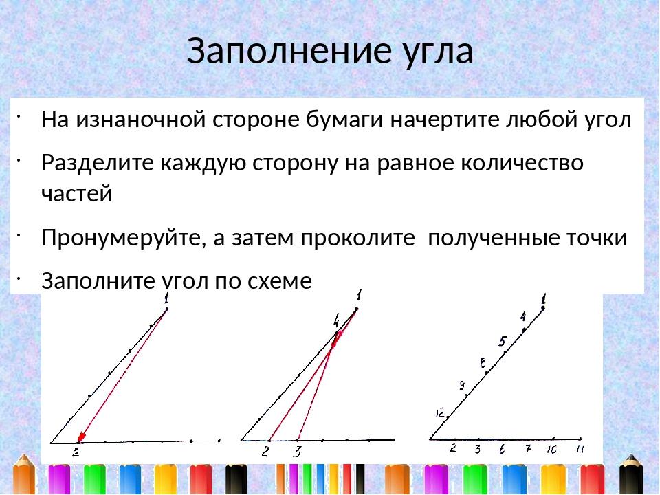 Заполнение угла На изнаночной стороне бумаги начертите любой угол Разделите к...