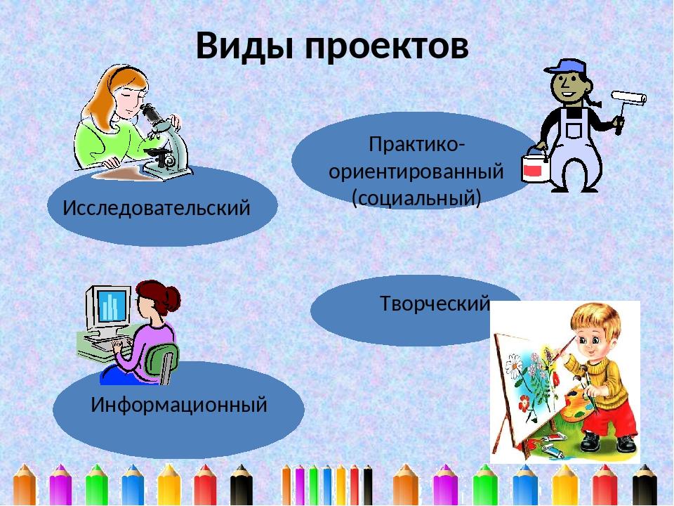 Виды проектов Исследовательский Практико- ориентированный (социальный) Инфор...