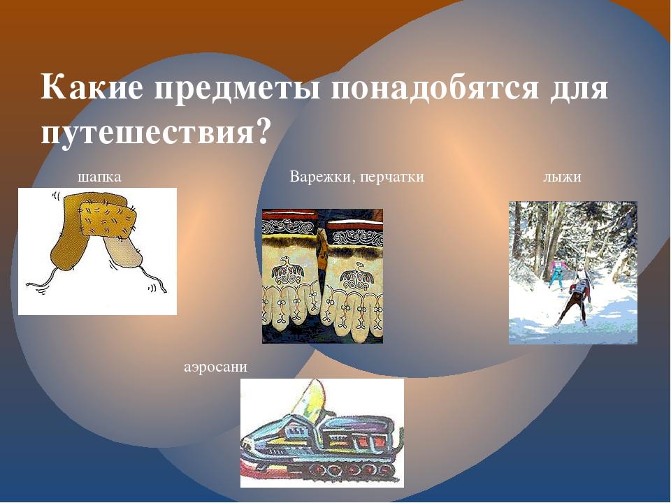 Какие предметы понадобятся для путешествия? шапка Варежки, перчатки лыжи аэро...