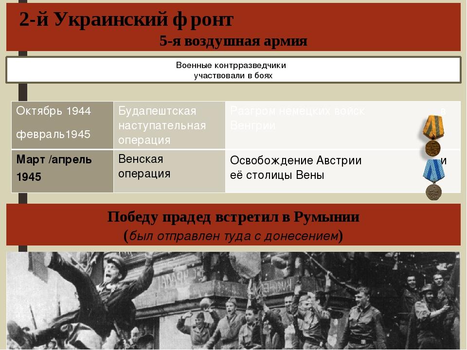 2-й Украинский фронт 5-я воздушная армия Победу прадед встретил в Румынии (бы...