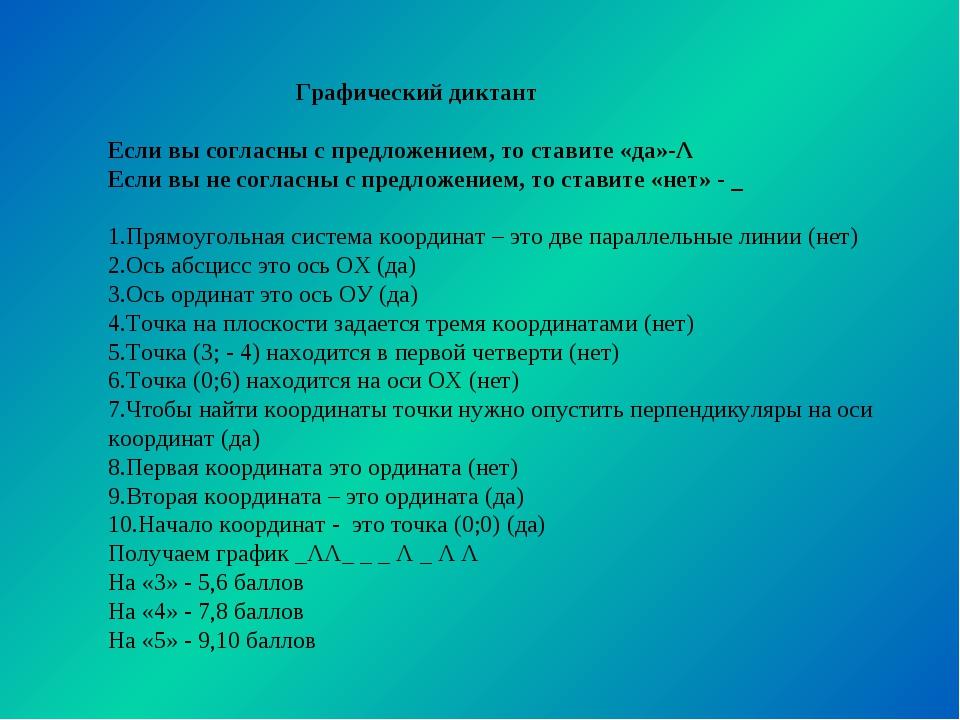 Графический диктант Если вы согласны с предложением, то ставите «да»-Λ Если...