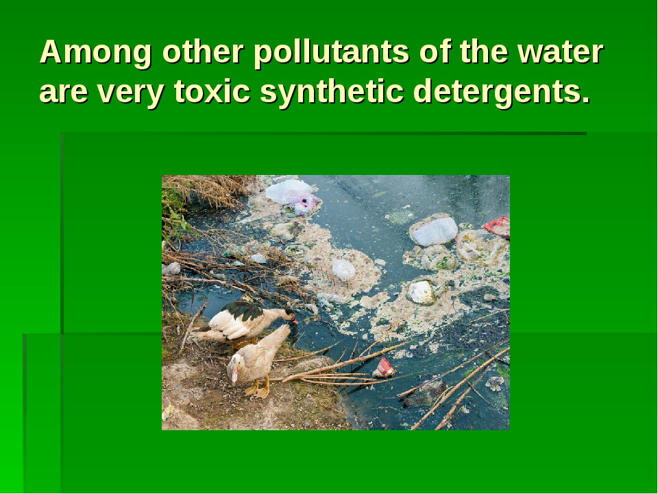 Among other pollutants of the water are very toxic synthetic detergents.