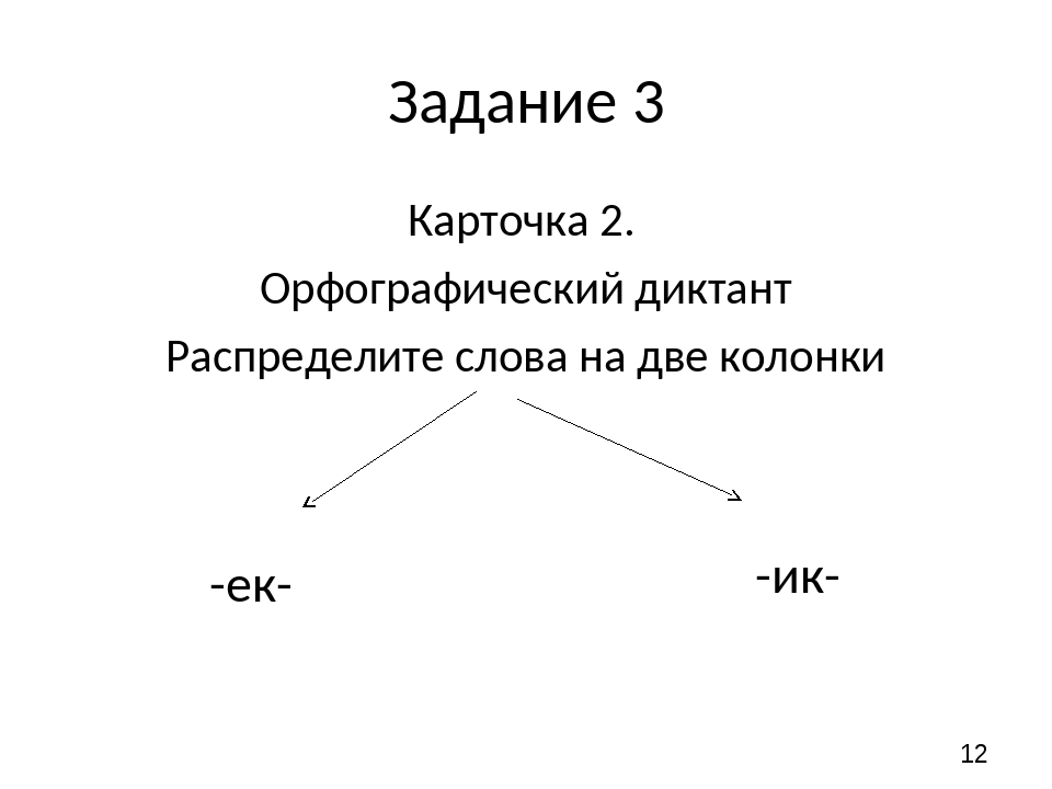 Задание 3 Карточка 2. Орфографический диктант Распределите слова на две колон...