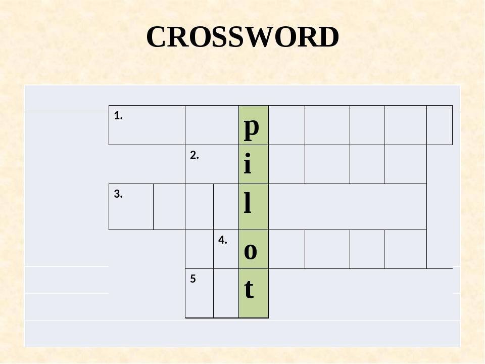 CROSSWORD 1. p 2. i 3. l 4. o 5 t