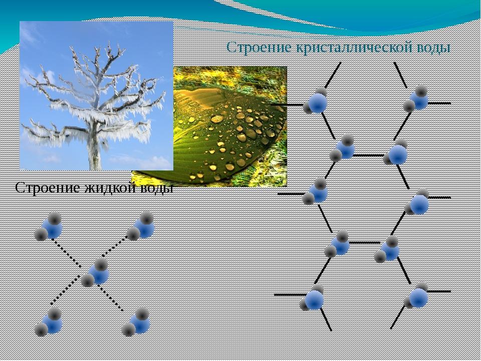 Строение кристаллической воды Строение жидкой воды