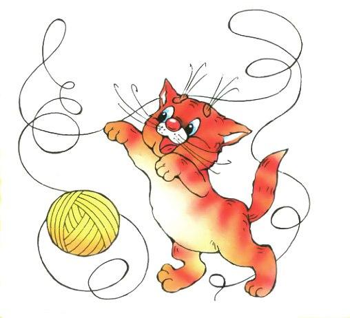 Картинка котенок играет с клубком для детей