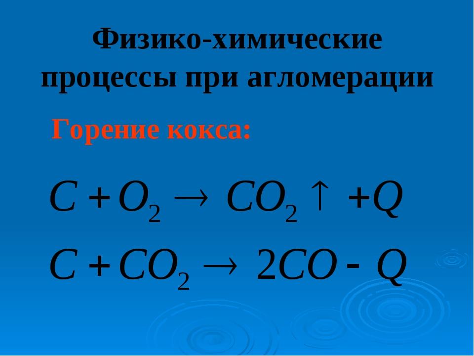 Физико-химические процессы при агломерации Горение кокса: