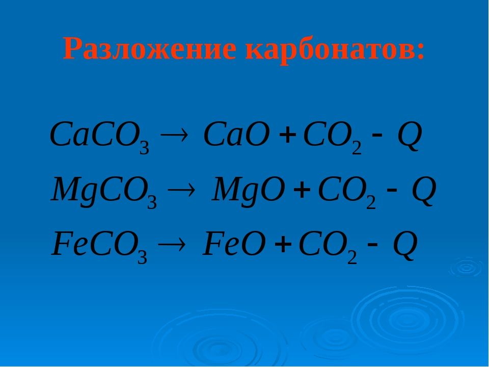 Разложение карбонатов:
