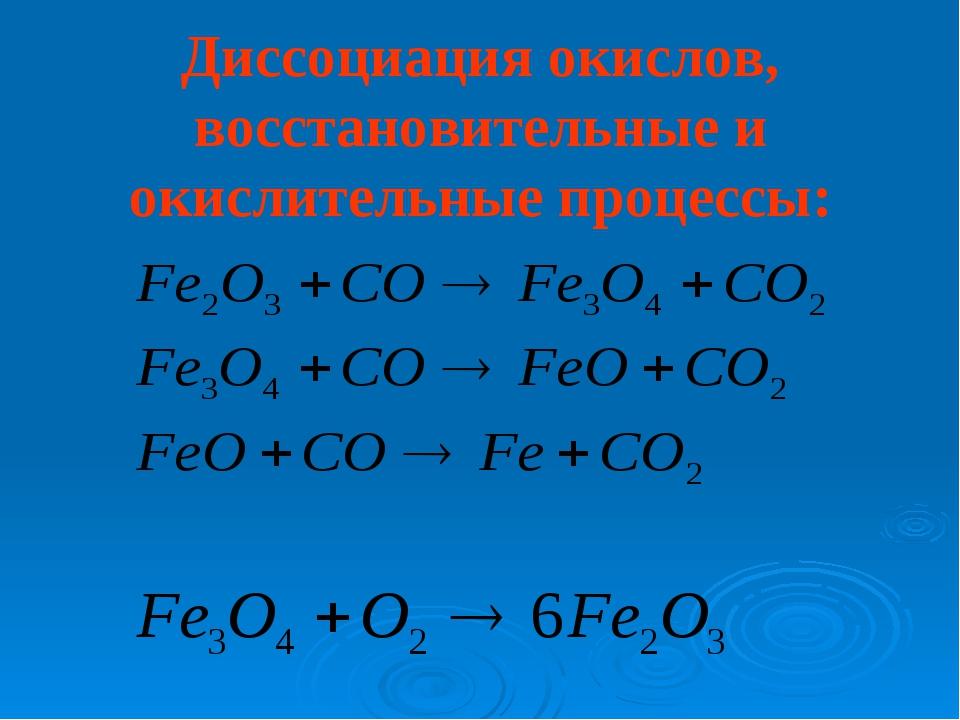 Диссоциация окислов, восстановительные и окислительные процессы:
