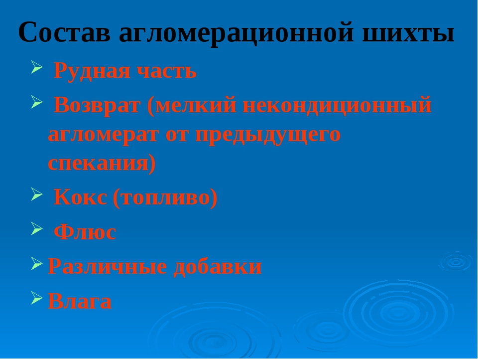 Состав агломерационной шихты Рудная часть Возврат (мелкий некондиционный агло...