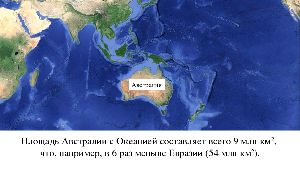 Австралия Площадь Австралии с Океанией составляет всего 9 млн км2, что, напри...
